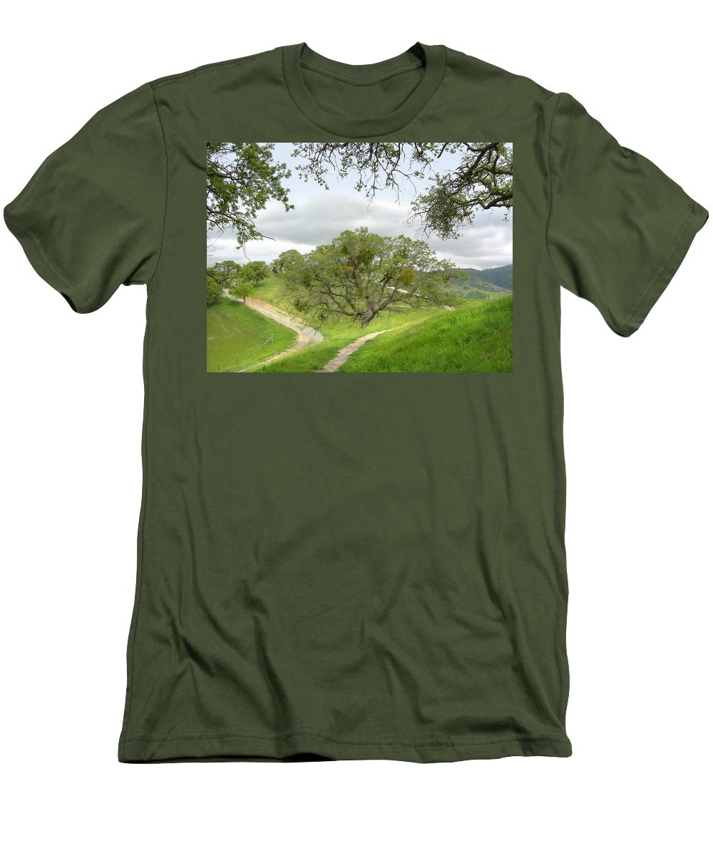 Landscape Men's T-Shirt (Athletic Fit) featuring the photograph East Ridge Trail - Spring by Karen W Meyer