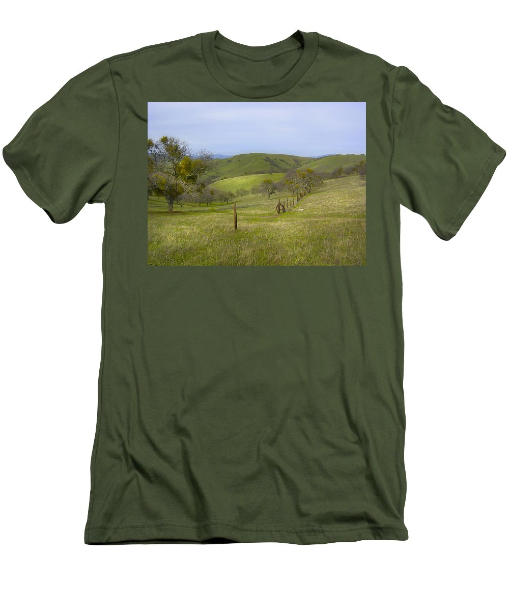 Landscape Men's T-Shirt (Athletic Fit) featuring the photograph East Ridge Trail Barbed Wire by Karen W Meyer