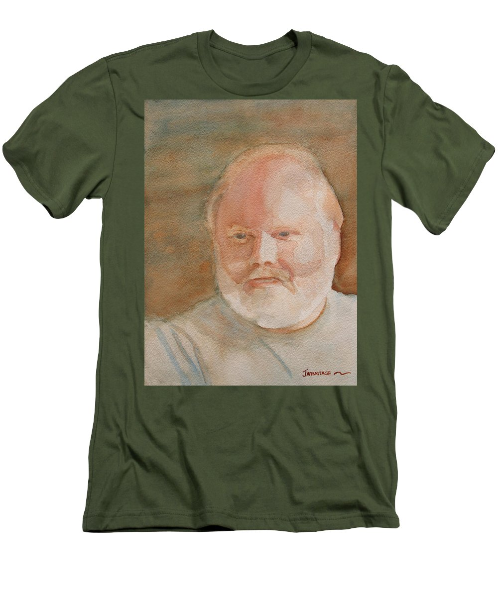 Man Men's T-Shirt (Athletic Fit) featuring the painting Ed Turns Forty by Jenny Armitage