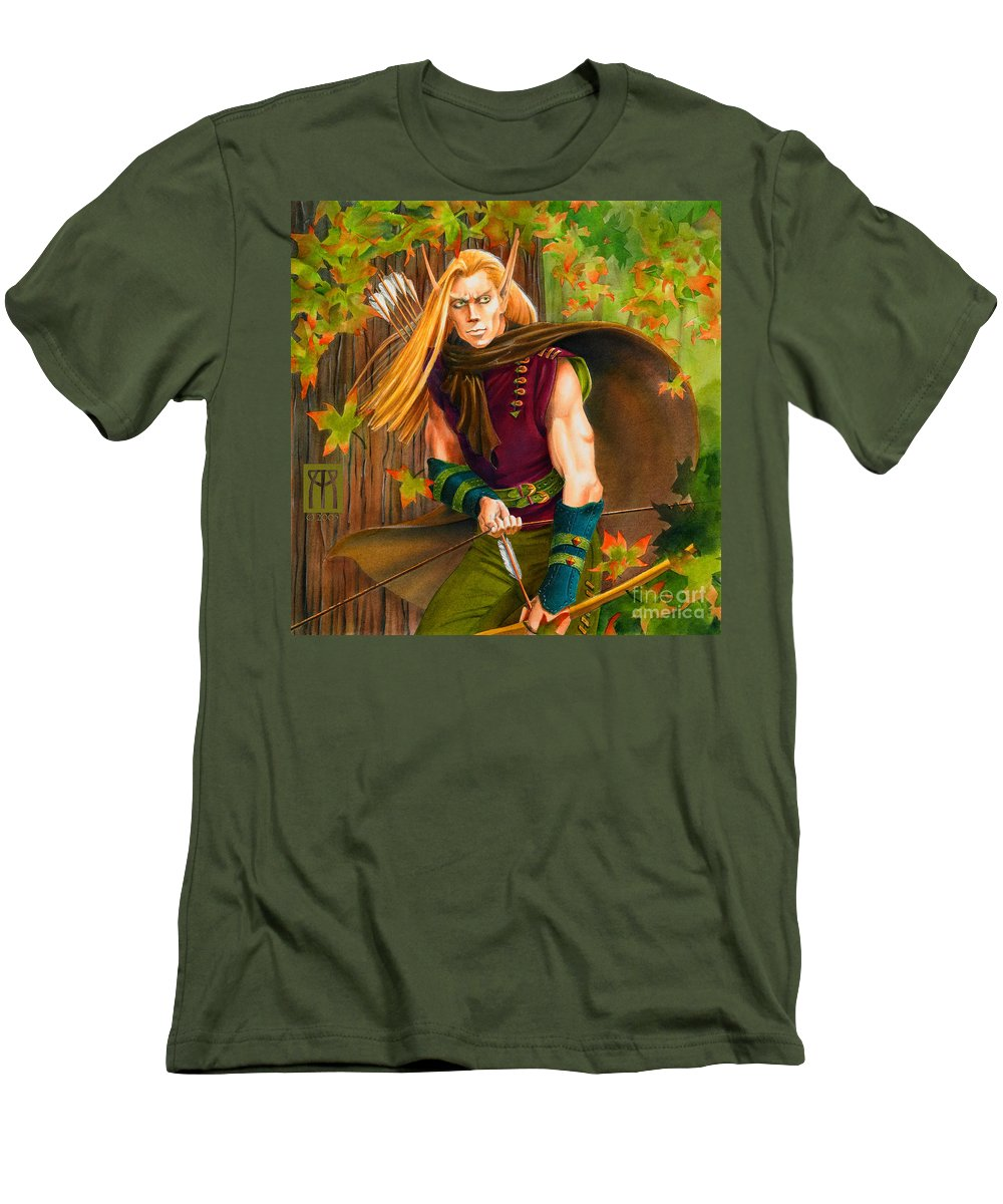 Elf Men's T-Shirt (Athletic Fit) featuring the painting Elven Hunter by Melissa A Benson