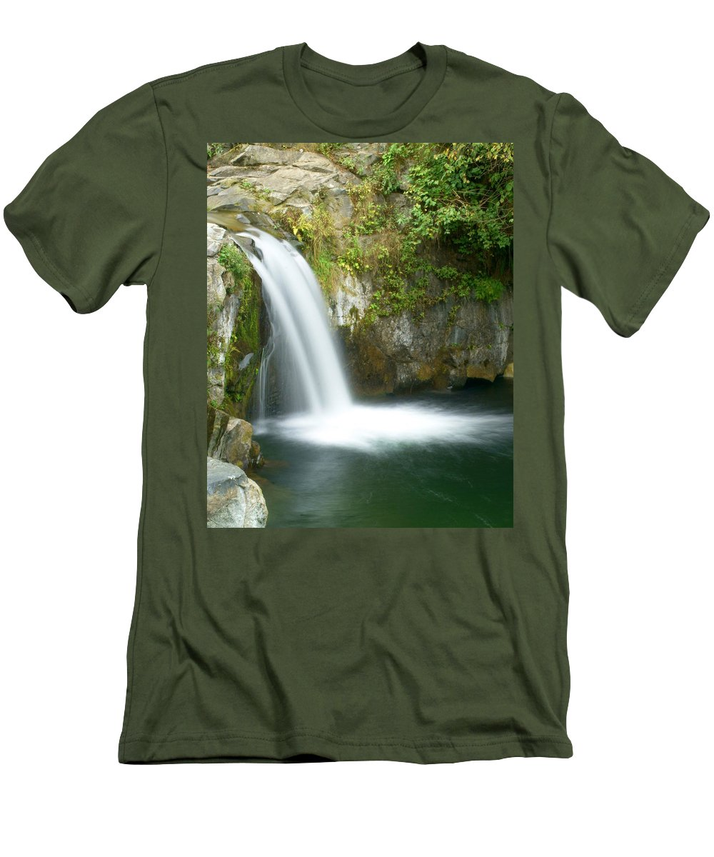 Waterfall Men's T-Shirt (Athletic Fit) featuring the photograph Emerald Falls by Marty Koch