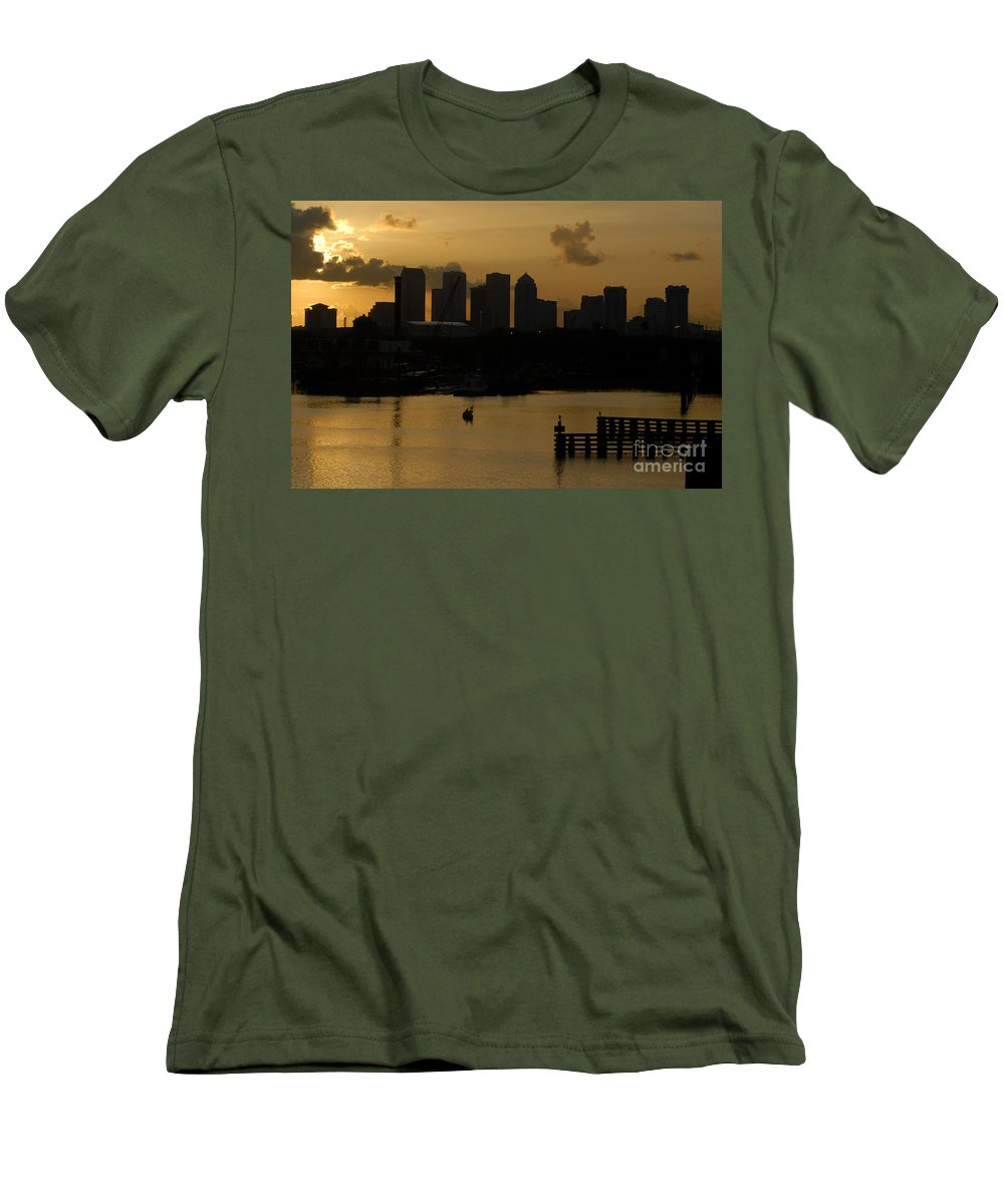 Tampa Bay Florida Men's T-Shirt (Athletic Fit) featuring the photograph Evening In Tampa by David Lee Thompson