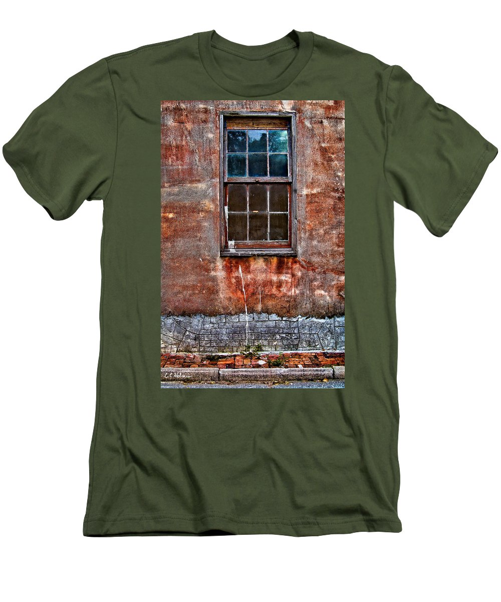 Window Men's T-Shirt (Athletic Fit) featuring the photograph Faded Over Time by Christopher Holmes