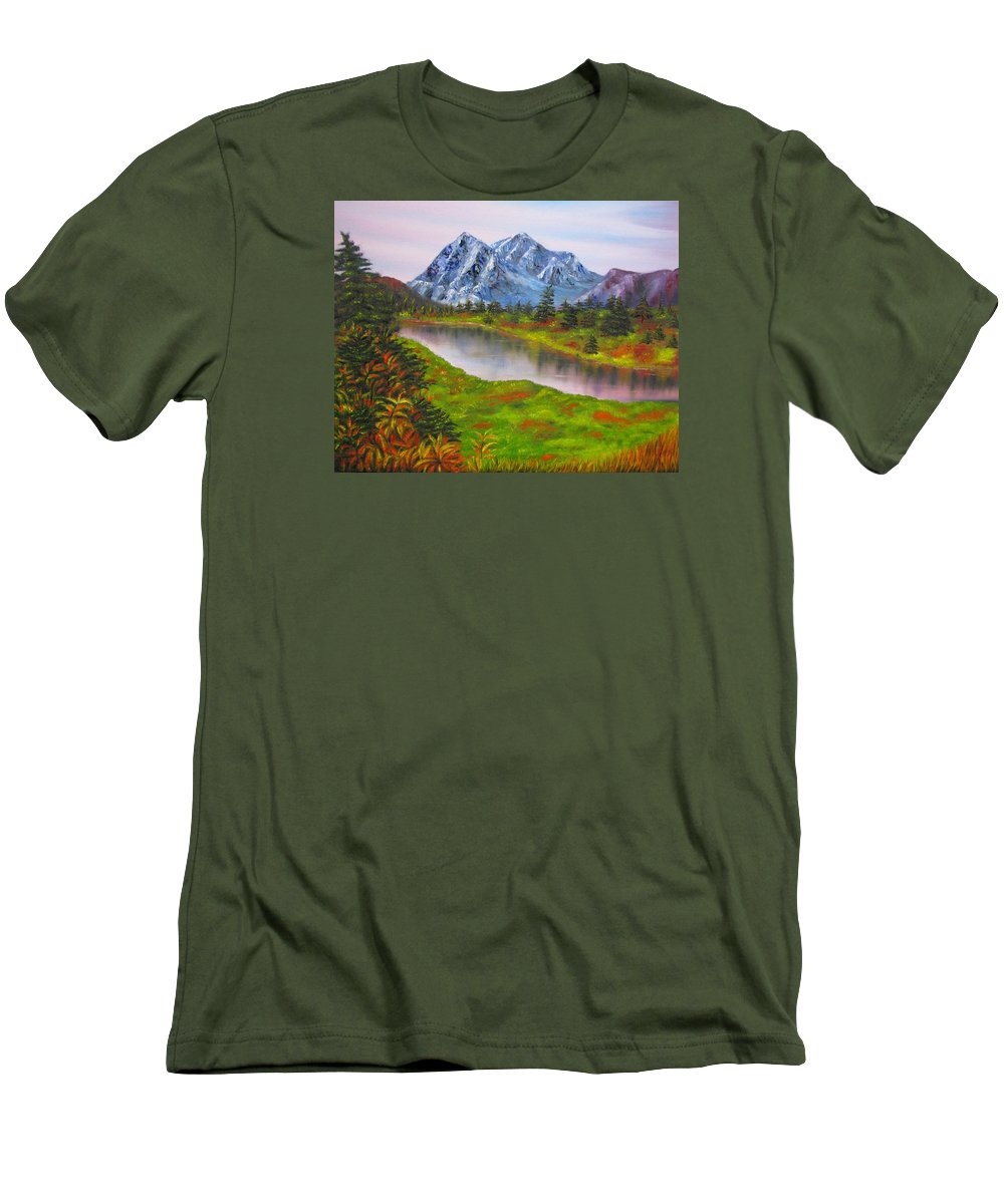 Fall Men's T-Shirt (Athletic Fit) featuring the painting Fall In Mountains Landscape Oil Painting by Natalja Picugina