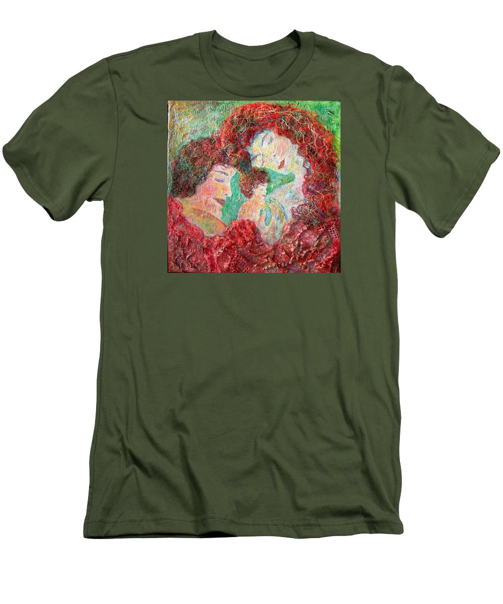 Mother Men's T-Shirt (Athletic Fit) featuring the painting Family Safety by Naomi Gerrard