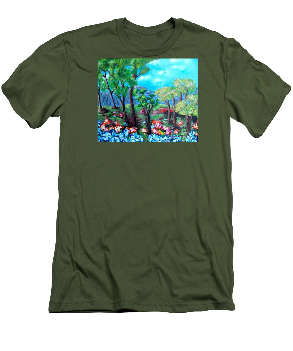 Fantasy Men's T-Shirt (Athletic Fit) featuring the painting Fantasy Forest by Laurie Morgan