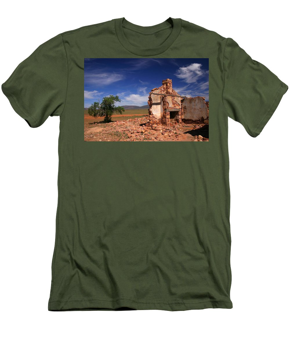 Cottage Men's T-Shirt (Athletic Fit) featuring the photograph Farmhouse Cottage Ruin Flinders Ranges South Australia by Ralph A Ledergerber-Photography