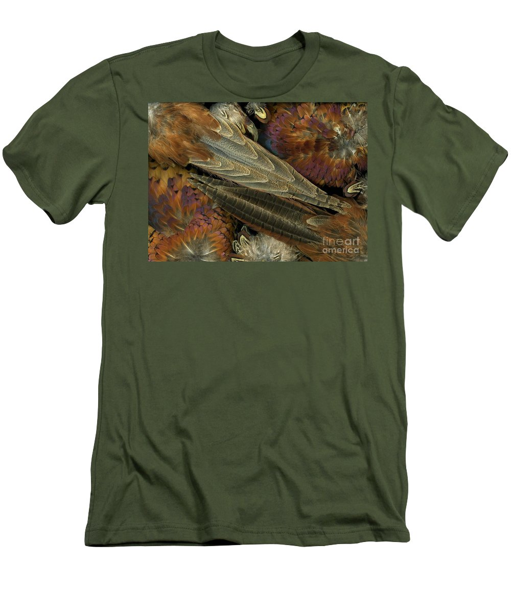 Pheasant Men's T-Shirt (Athletic Fit) featuring the photograph Featherdance by Christian Slanec