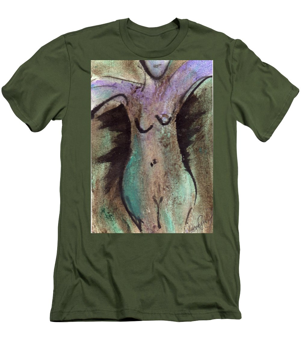 Nude Men's T-Shirt (Athletic Fit) featuring the painting Female Nude Torso 1 by Wayne Potrafka