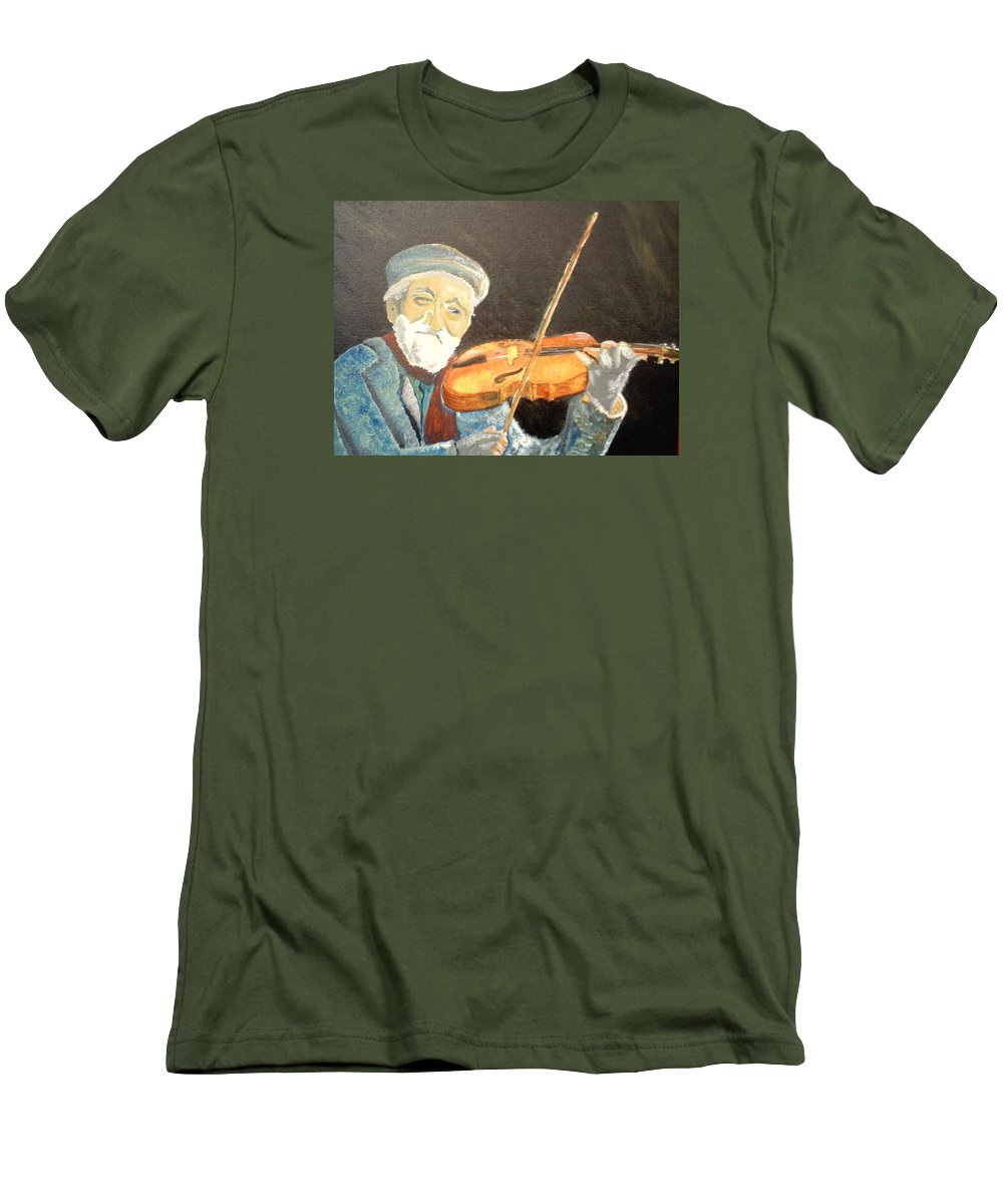 Hungry He Plays For His Supper Men's T-Shirt (Athletic Fit) featuring the painting Fiddler Blue by J Bauer