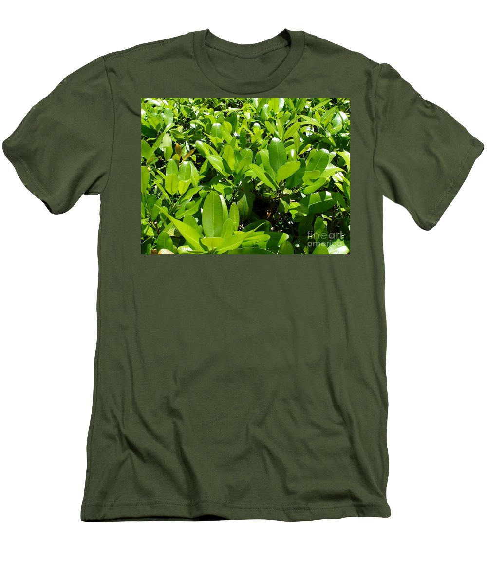Shrub Men's T-Shirt (Athletic Fit) featuring the photograph Field Of Green by Maria Bonnier-Perez