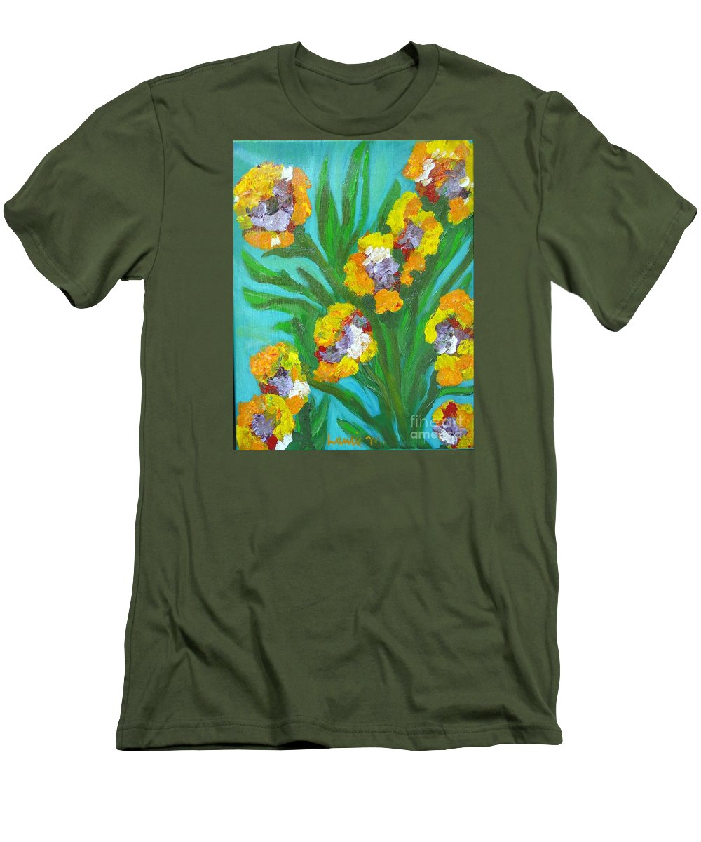 Flower Men's T-Shirt (Athletic Fit) featuring the painting Fire Blossoms by Laurie Morgan