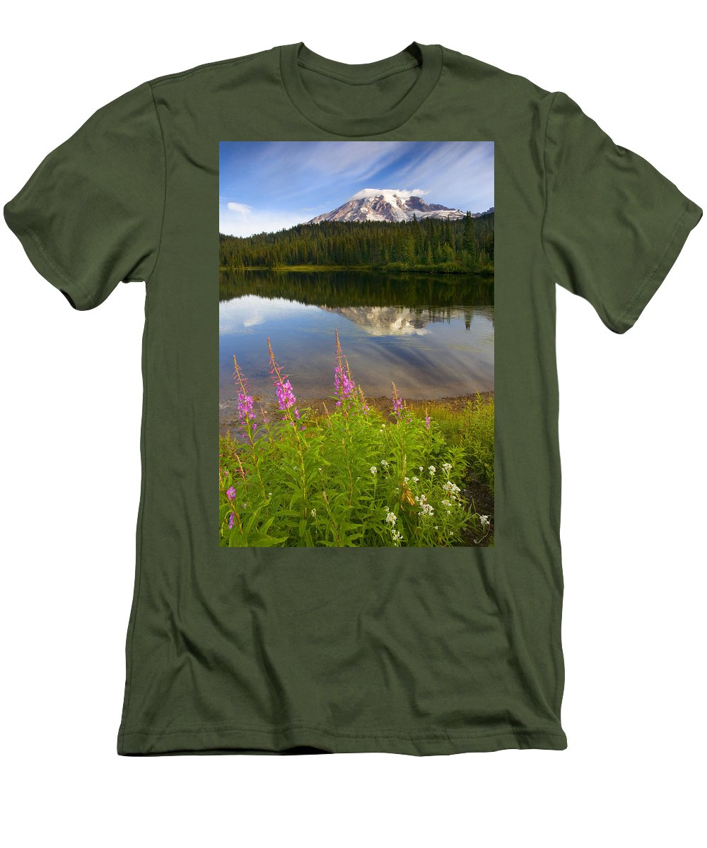 Fireweed Men's T-Shirt (Athletic Fit) featuring the photograph Fireweed Reflections by Mike Dawson