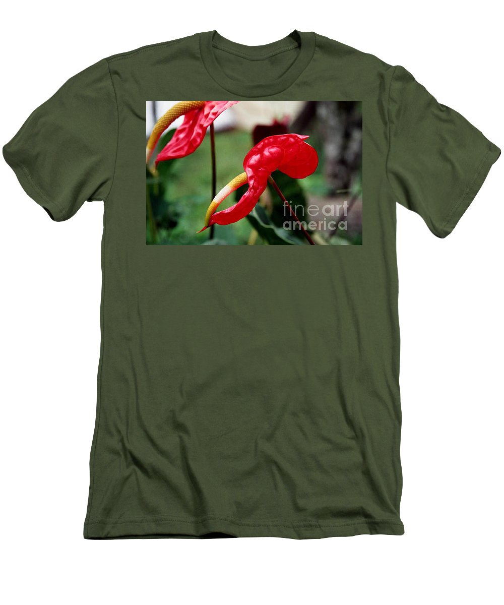 Exotic Flowers Men's T-Shirt (Athletic Fit) featuring the photograph Flamingo Flower by Kathy McClure