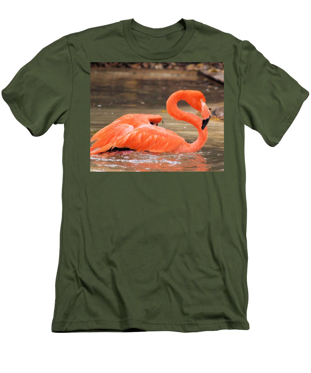 Flamingo Men's T-Shirt (Athletic Fit) featuring the photograph Flamingo by Gaby Swanson