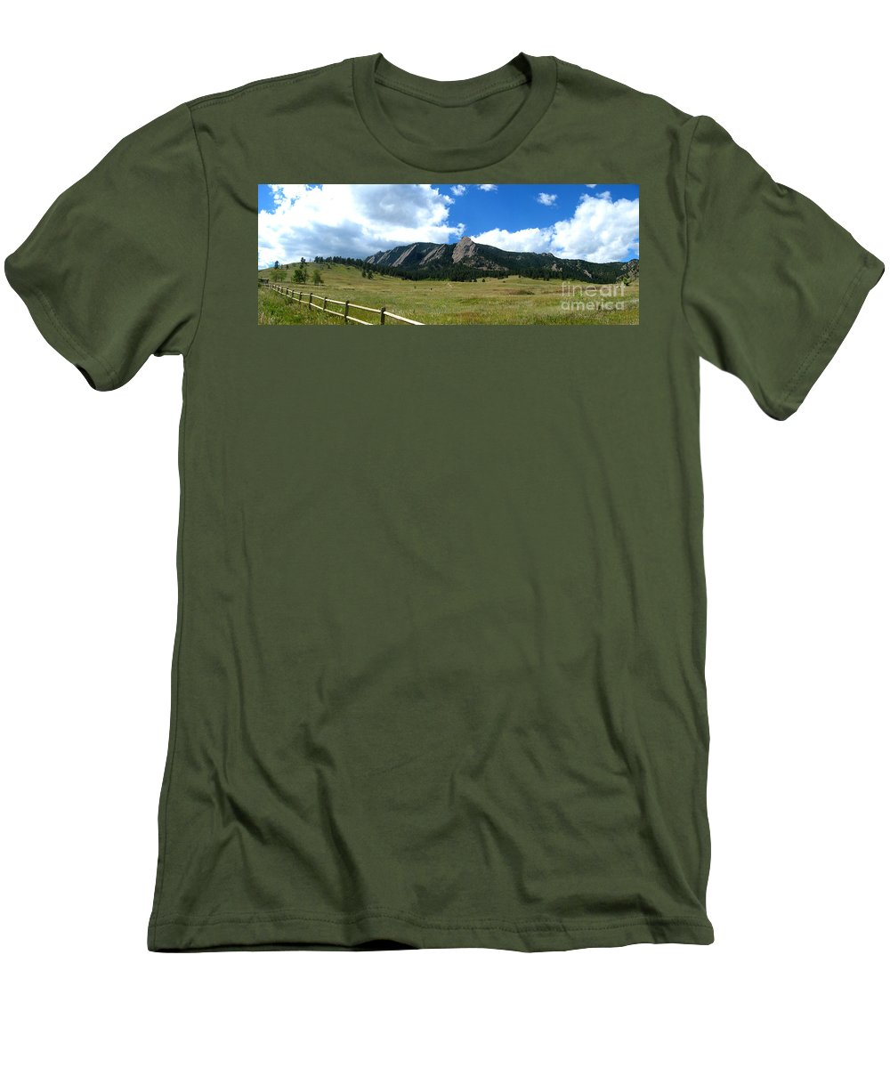 Flatiron Men's T-Shirt (Athletic Fit) featuring the photograph Flatirons Panorama by Thomas Marchessault