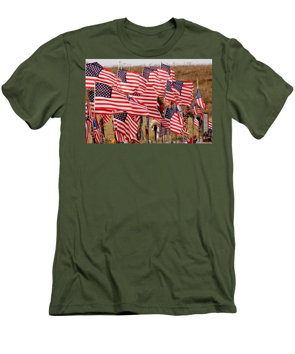 Flags Men's T-Shirt (Athletic Fit) featuring the photograph Flight 93 Flags by Jean Macaluso