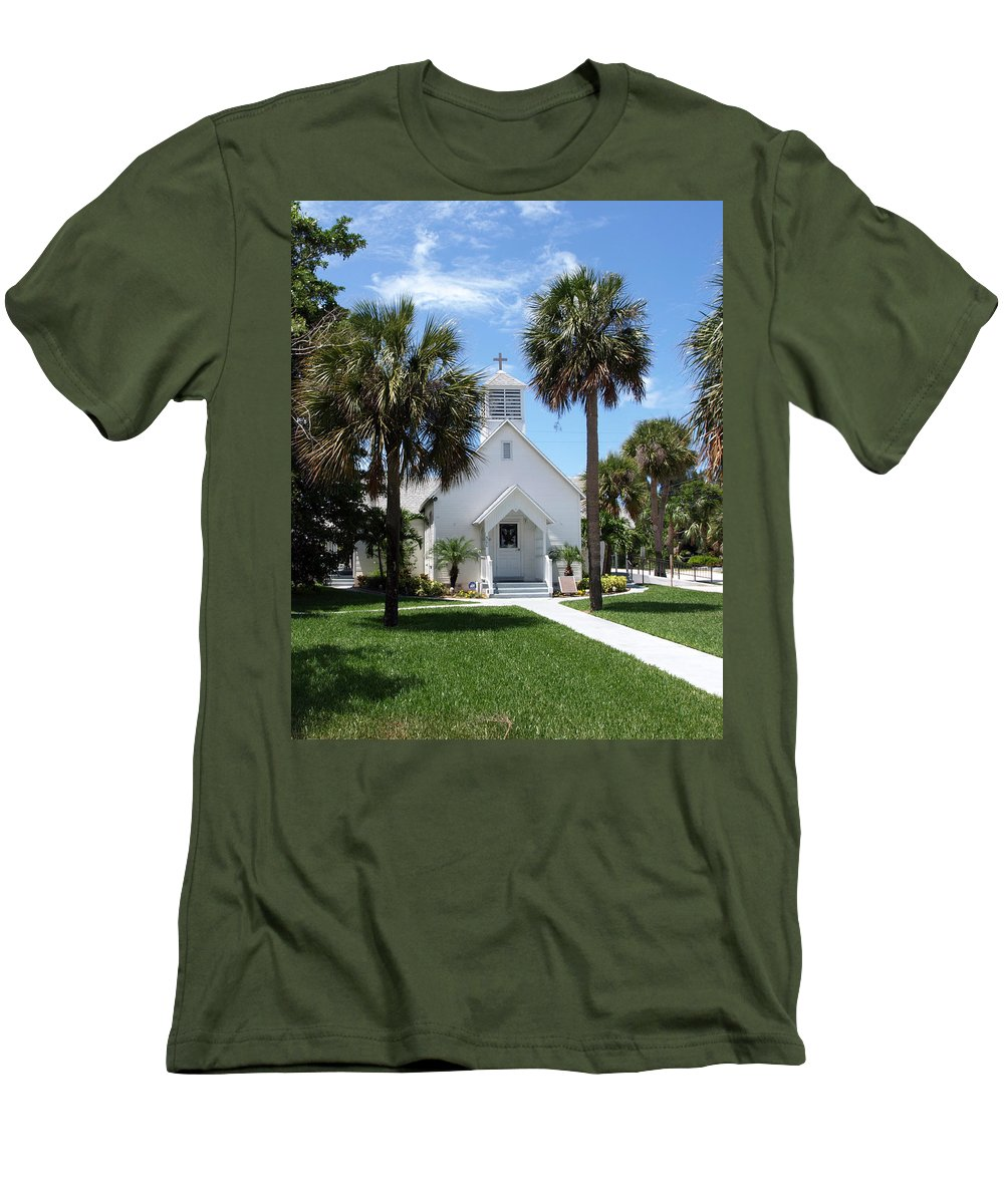 Chapel; Community; Melbourne; Beach; Florida; Melbourne Beach; Church; Congregationalist; Worship; M Men's T-Shirt (Athletic Fit) featuring the photograph Florida Community Chapel by Allan Hughes