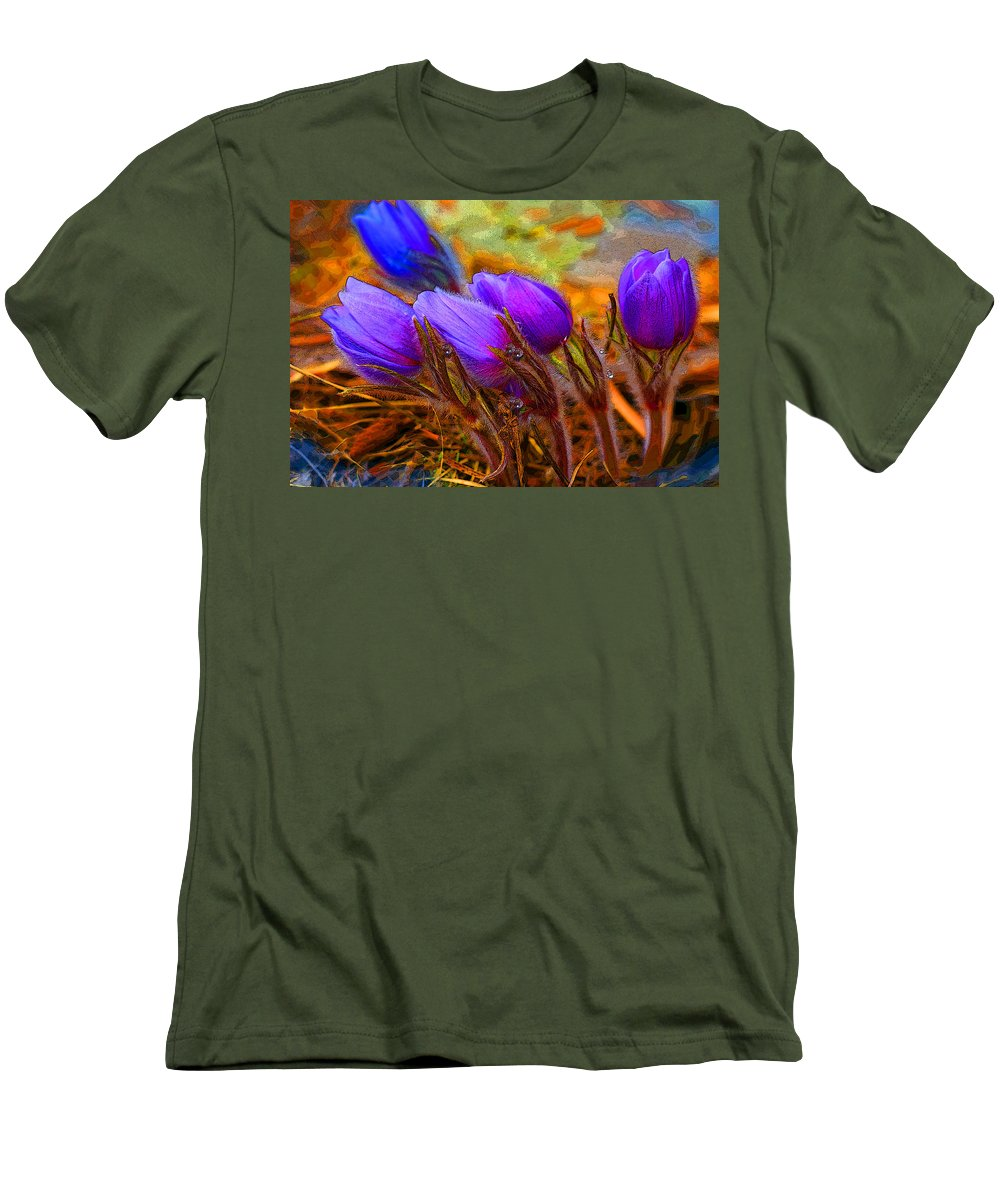 Flowers Men's T-Shirt (Athletic Fit) featuring the photograph Flourescent Flowers by Heather Coen