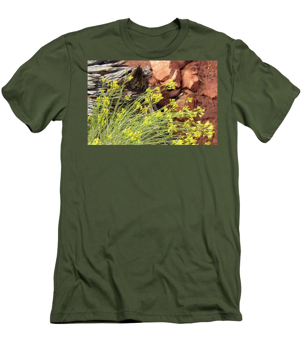 Flower Men's T-Shirt (Athletic Fit) featuring the photograph Flower Wood And Rock by Marilyn Hunt