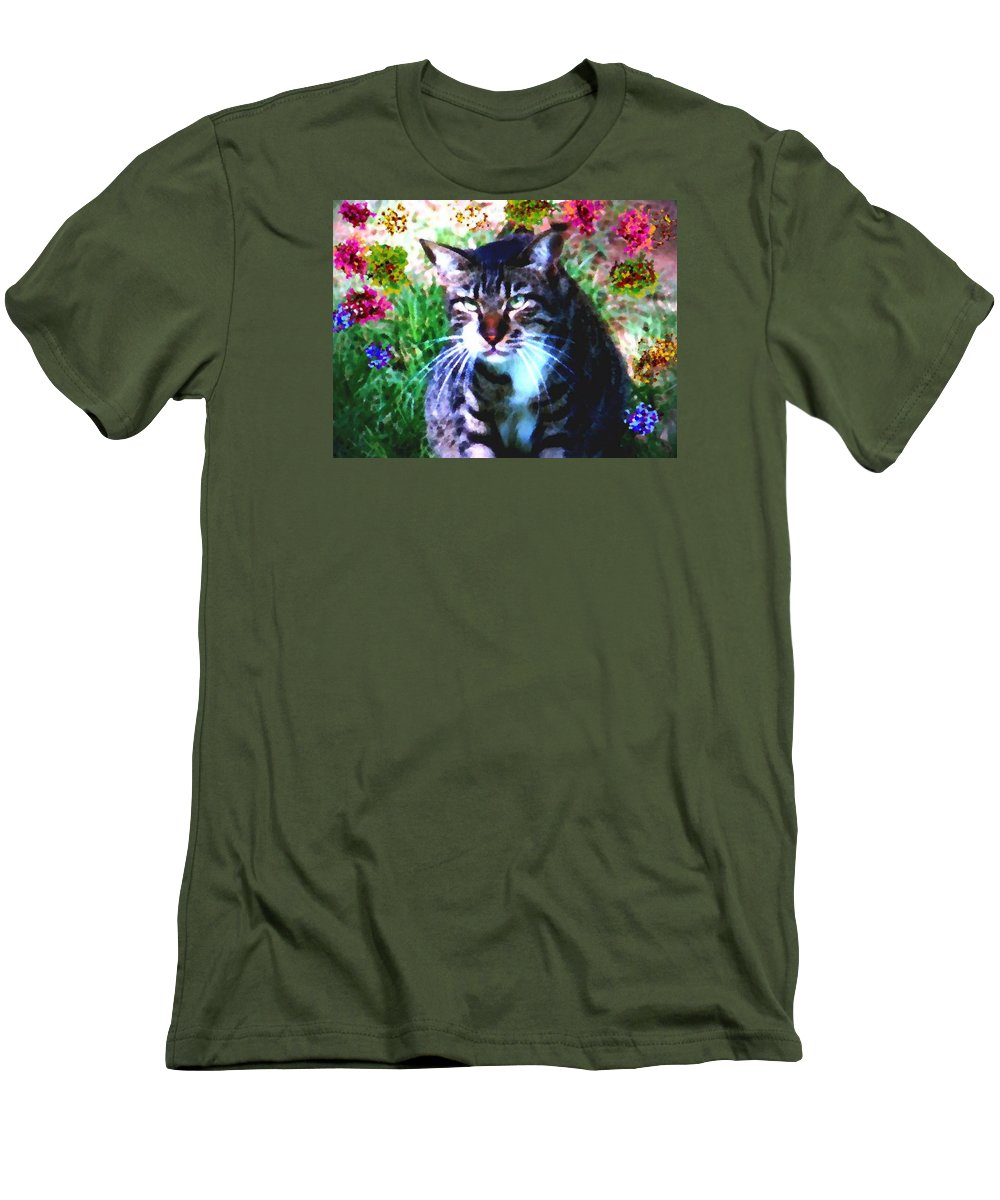 Cat Grey Attention Grass Flowers Nature Animals View Men's T-Shirt (Athletic Fit) featuring the digital art Flowers And Cat by Dr Loifer Vladimir