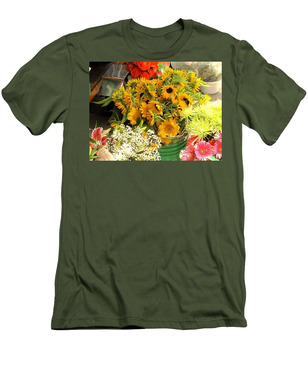 Flowers Men's T-Shirt (Athletic Fit) featuring the photograph Flowers For Sale by Ian MacDonald