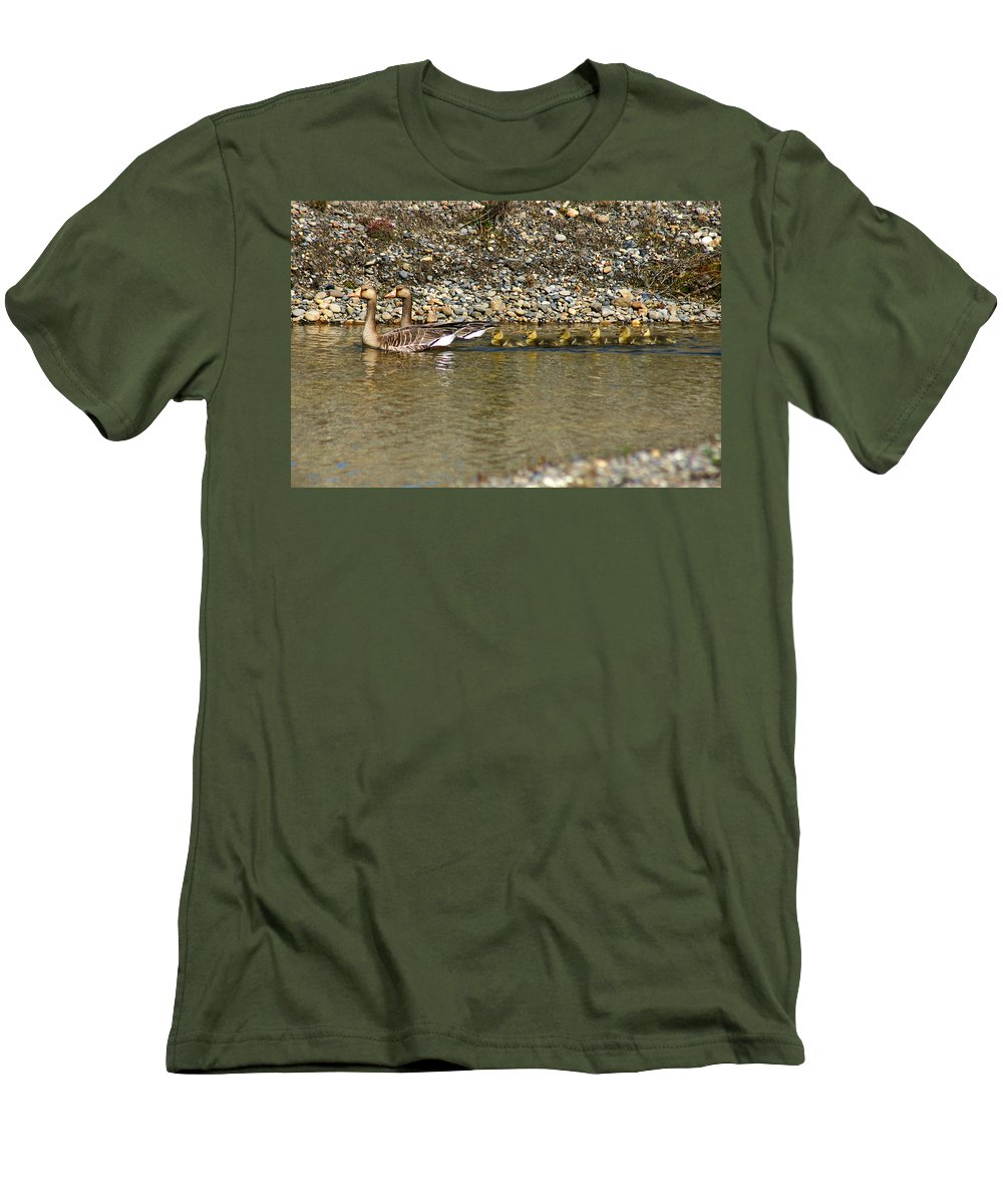 Ducks Men's T-Shirt (Athletic Fit) featuring the photograph Follow The Leader by Anthony Jones
