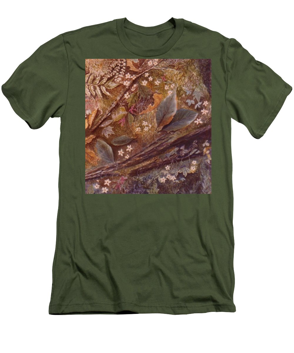 Leaves; Forest; Flowers Men's T-Shirt (Athletic Fit) featuring the painting Forest Floor by Ben Kiger