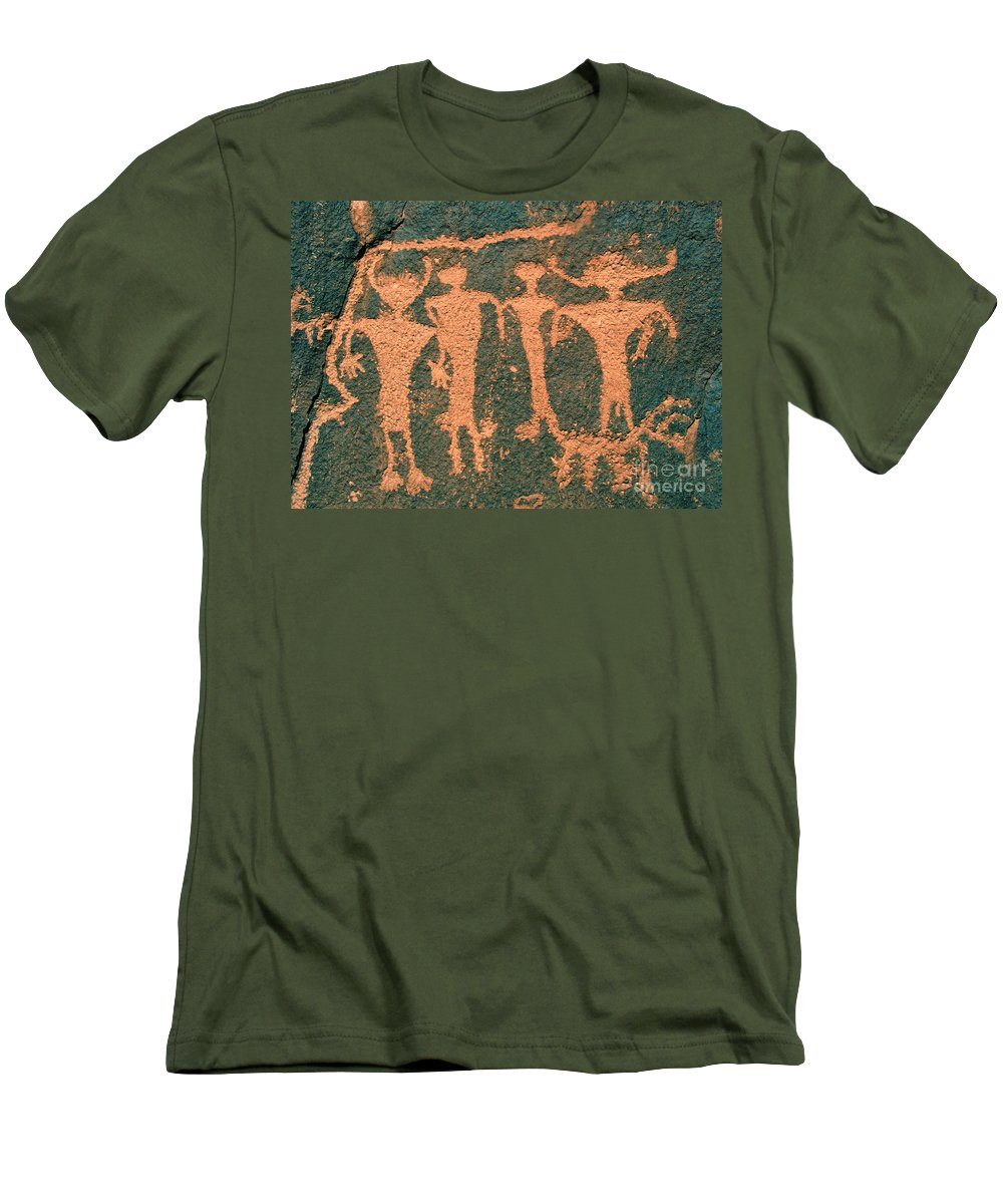 Petroglyphs Men's T-Shirt (Athletic Fit) featuring the photograph Four Anasazi by David Lee Thompson