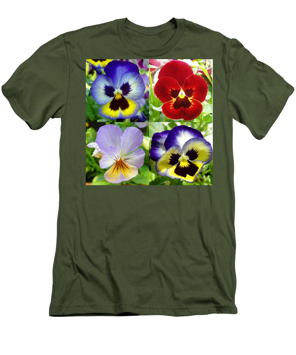 Pansy Men's T-Shirt (Athletic Fit) featuring the photograph Four Pansies by Nancy Mueller
