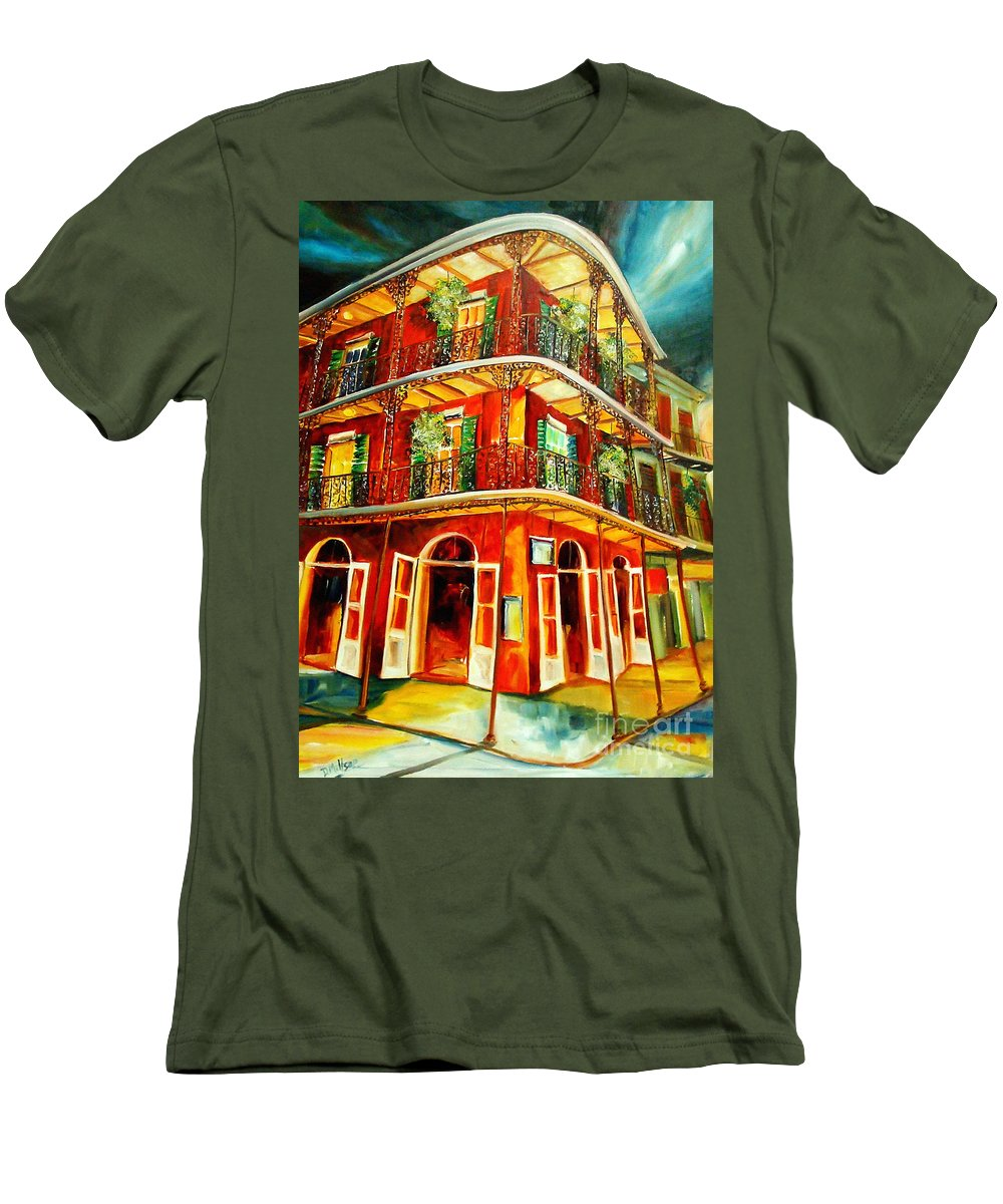 New Orleans Men's T-Shirt (Athletic Fit) featuring the painting French Quarter Corner by Diane Millsap