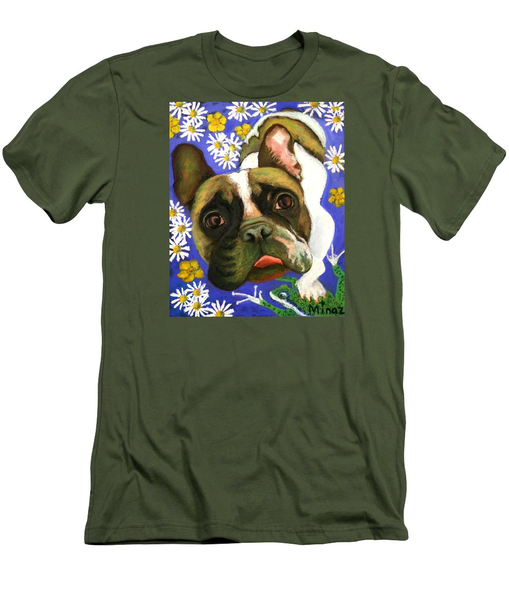 Pet Portrait Men's T-Shirt (Athletic Fit) featuring the painting Frenchie Plays With Frogs by Minaz Jantz