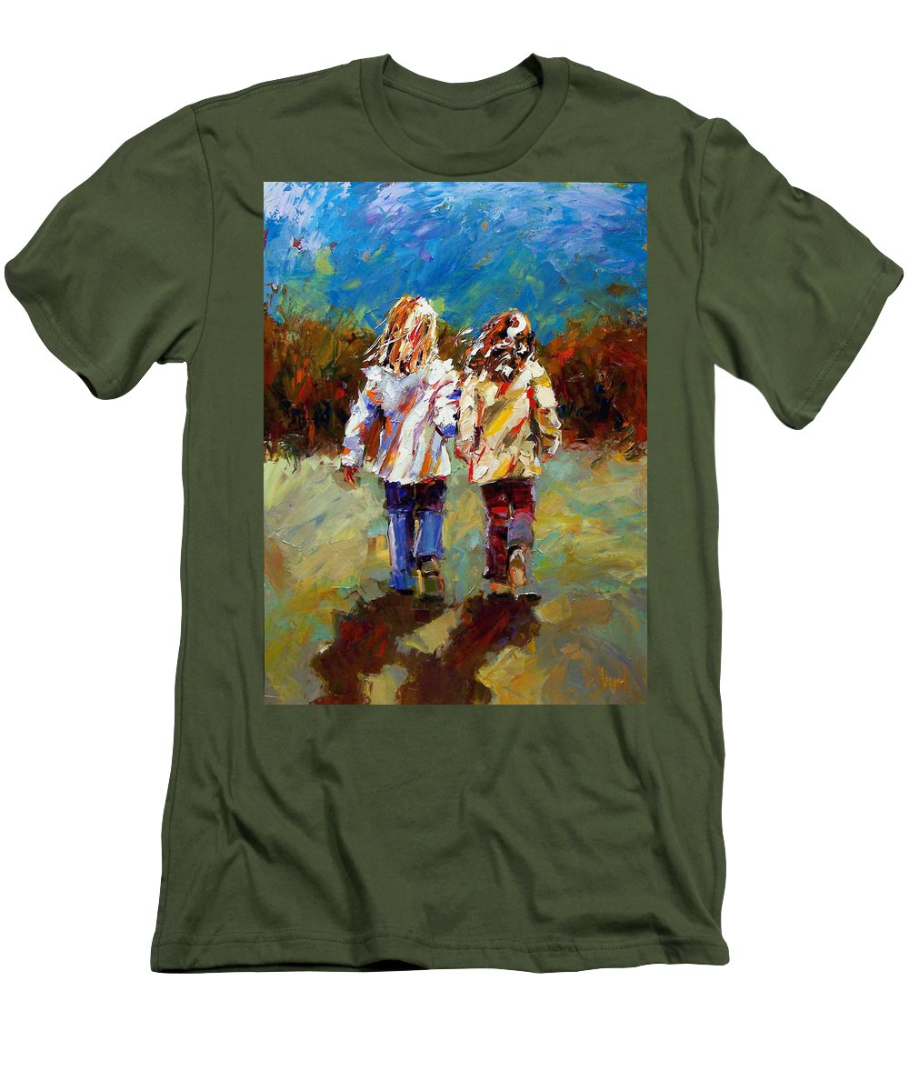 Girls Men's T-Shirt (Athletic Fit) featuring the painting Friends Forever by Debra Hurd