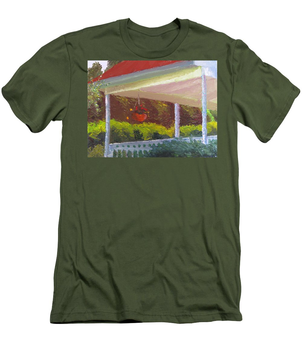 Landscape Painting Men's T-Shirt (Athletic Fit) featuring the painting Front Porch - Morning by Lea Novak