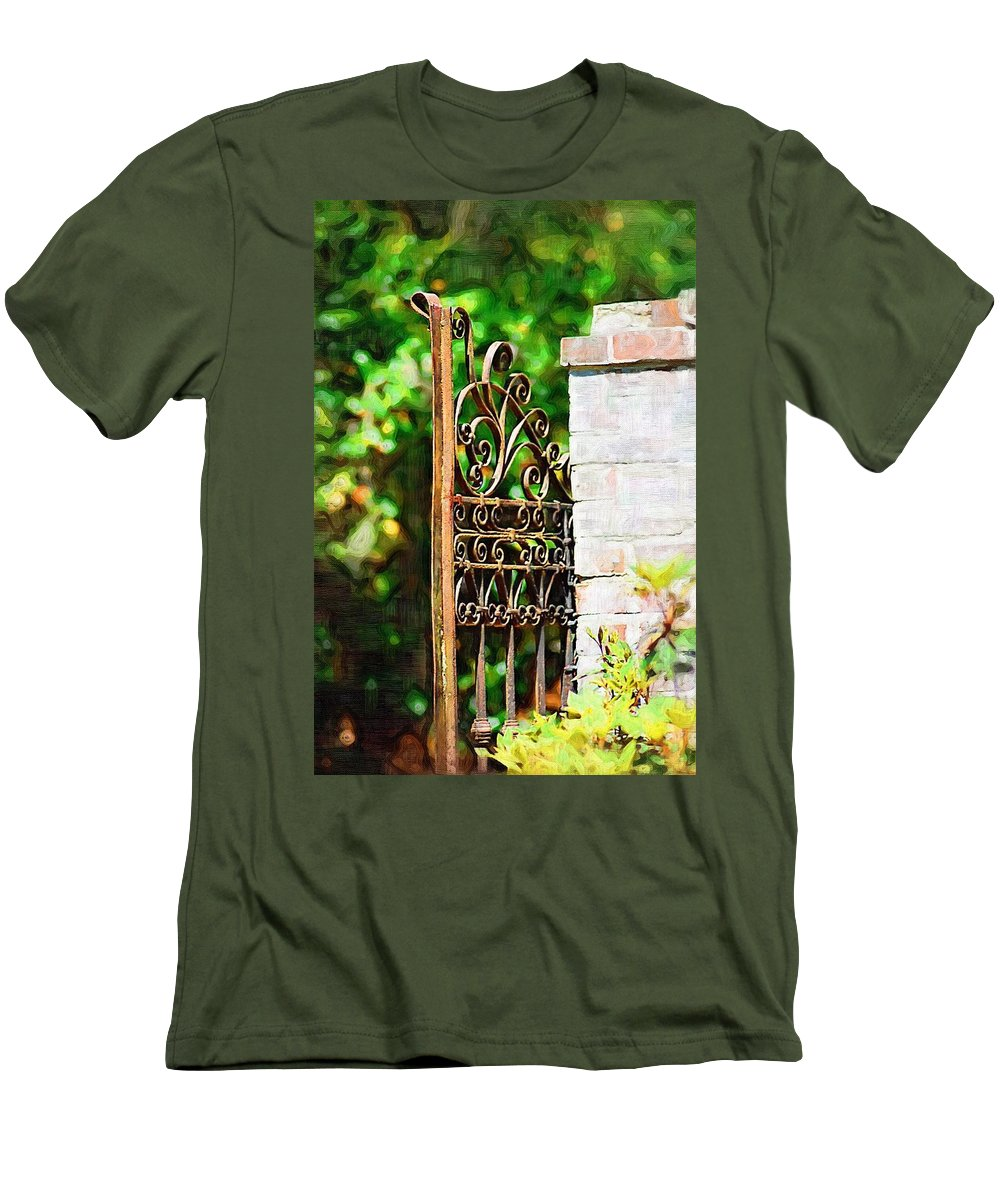 Gardens Men's T-Shirt (Athletic Fit) featuring the photograph Garden Gate by Donna Bentley