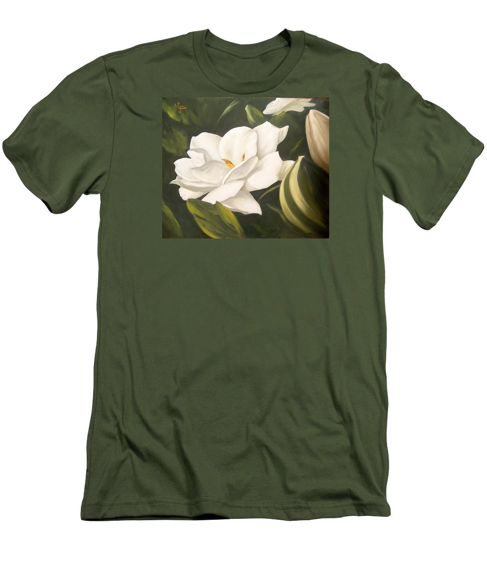 Gardenia Flower Men's T-Shirt (Athletic Fit) featuring the painting Gardenia by Natalia Tejera