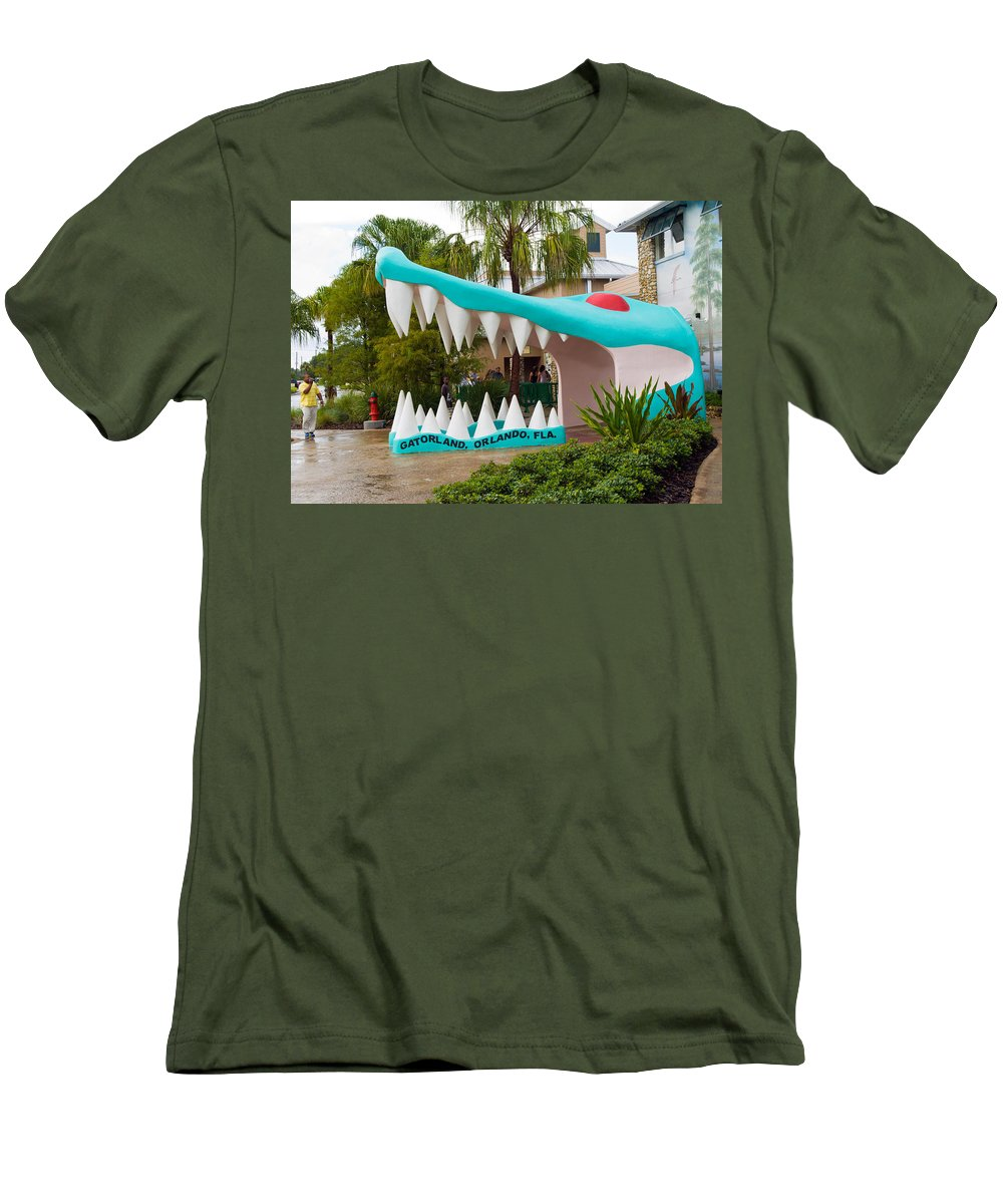 Men's T-Shirt (Athletic Fit) featuring the photograph Gatorland In Kissimmee Is Just South Of Orlando In Florida by Allan Hughes