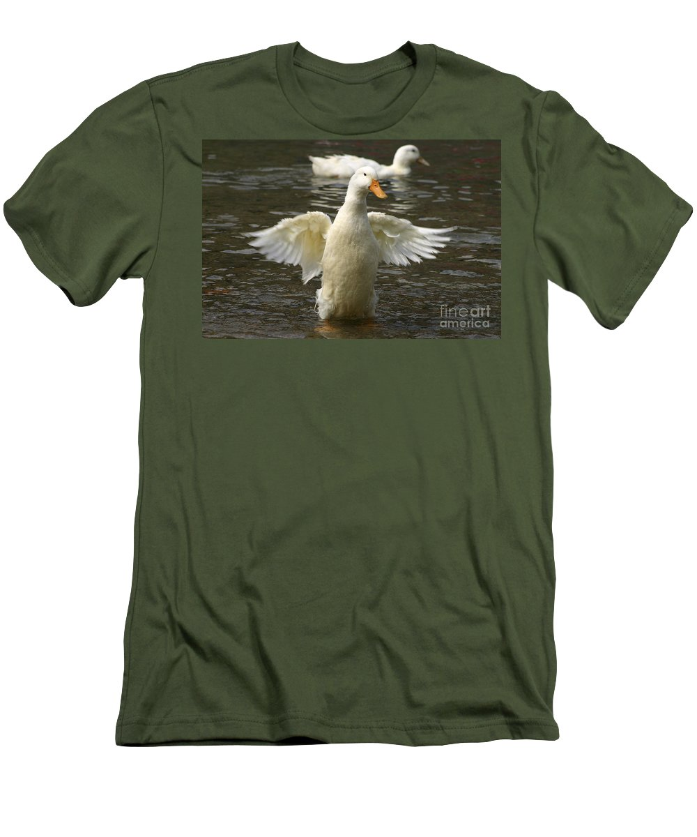 Ducks Men's T-Shirt (Athletic Fit) featuring the photograph Geese In The Water by Danny Yanai
