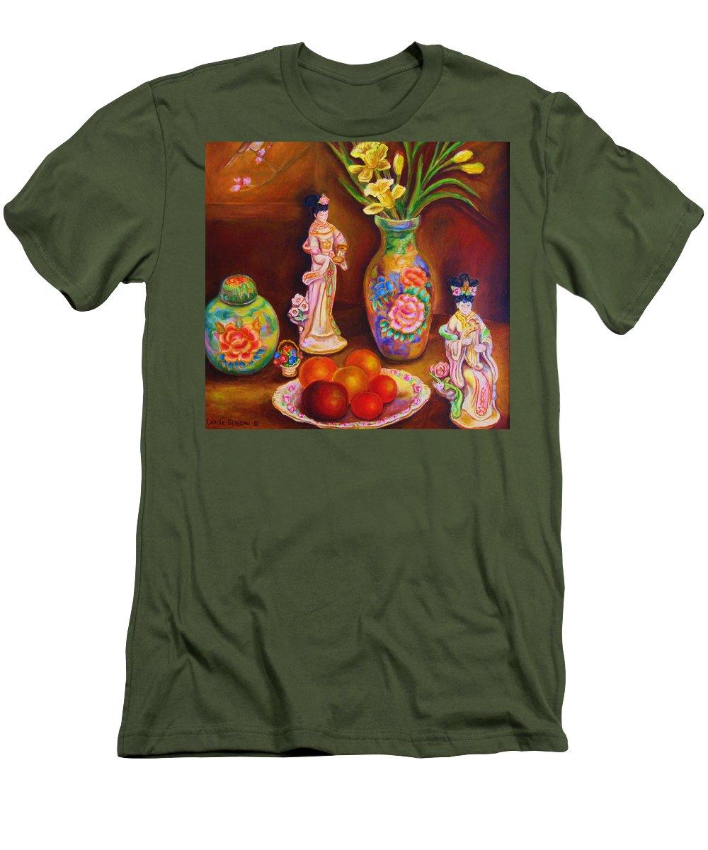 Geishas Men's T-Shirt (Athletic Fit) featuring the painting Geisha Dolls by Carole Spandau