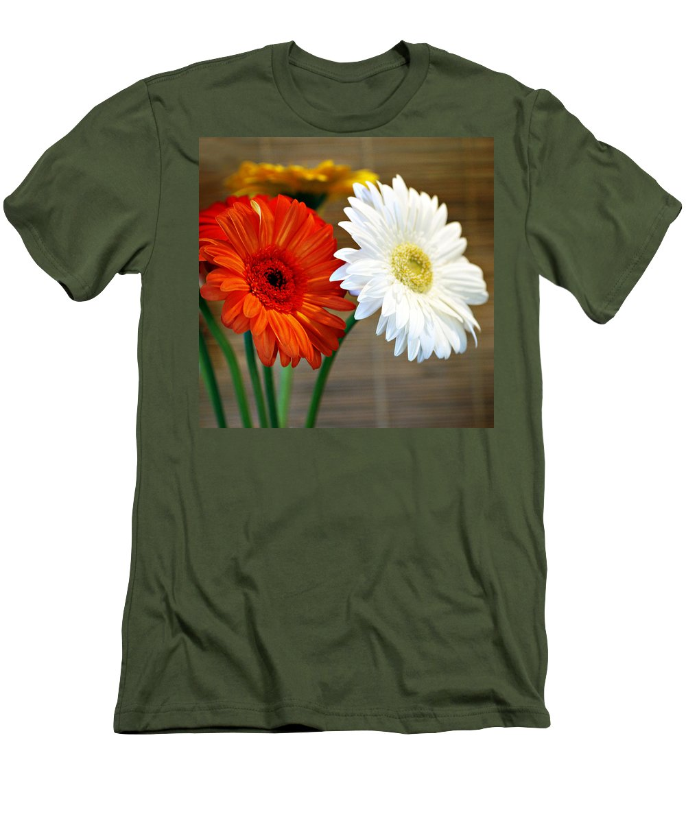 Flower Men's T-Shirt (Athletic Fit) featuring the photograph Gerbers by Marilyn Hunt