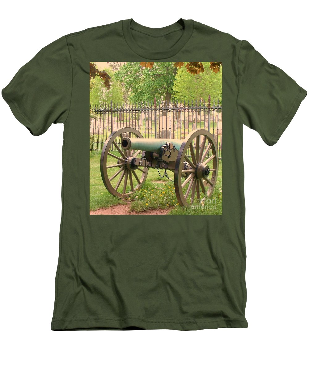 Gettysburgs Men's T-Shirt (Athletic Fit) featuring the painting Gettysburg Cannon Cemetery Hill by Eric Schiabor