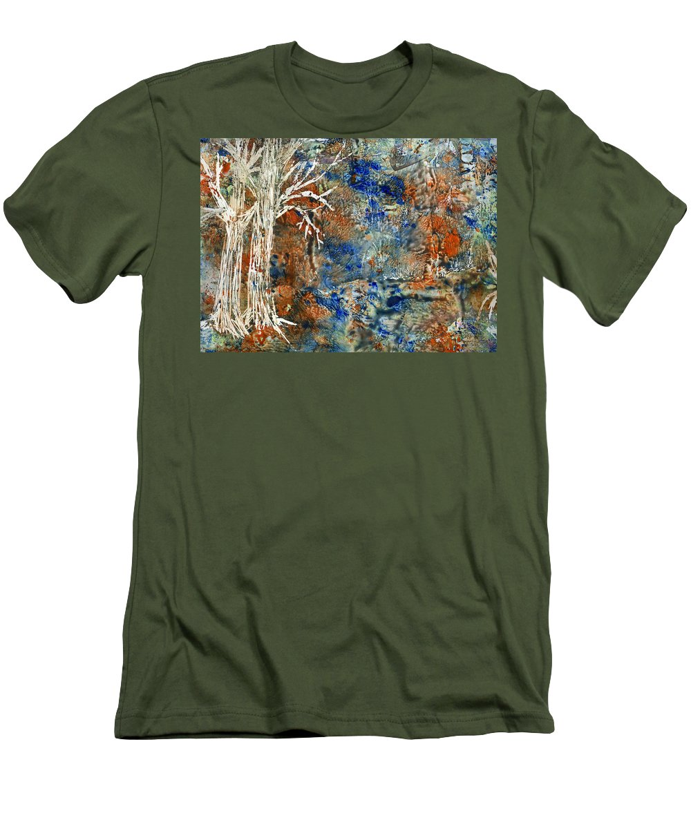 Trees Men's T-Shirt (Athletic Fit) featuring the painting Ghost Trees by Wayne Potrafka