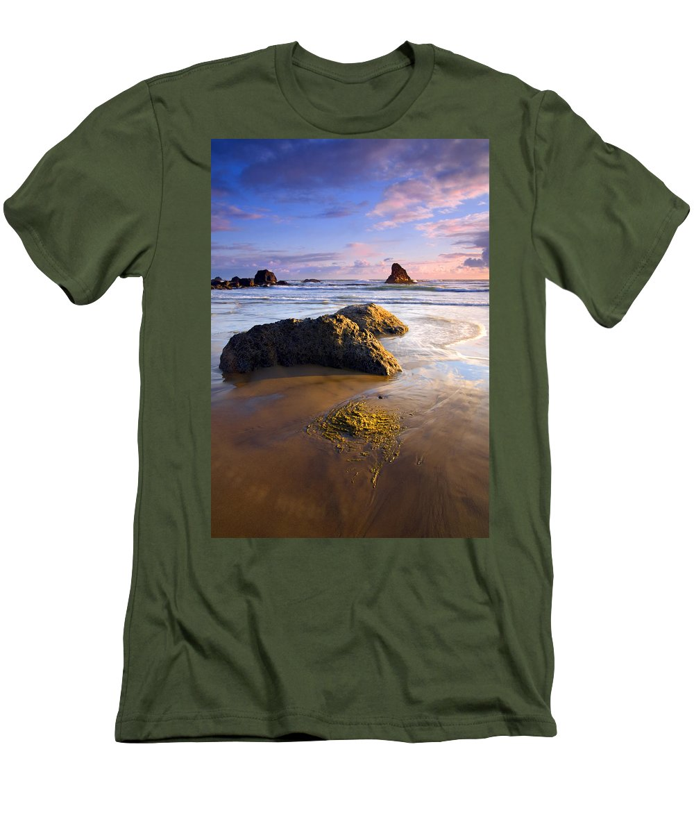 Beach Men's T-Shirt (Athletic Fit) featuring the photograph Golden Coast by Mike Dawson