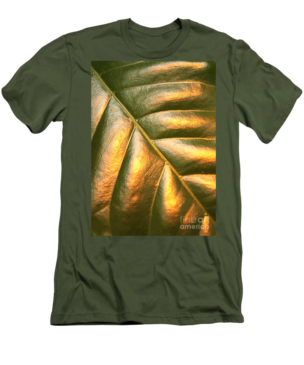 Gold Men's T-Shirt (Athletic Fit) featuring the photograph Golden Leaf by Carol Groenen
