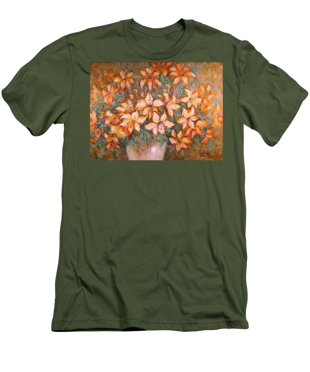 Yellow Lilies Men's T-Shirt (Athletic Fit) featuring the painting Golden Lilies by Natalie Holland