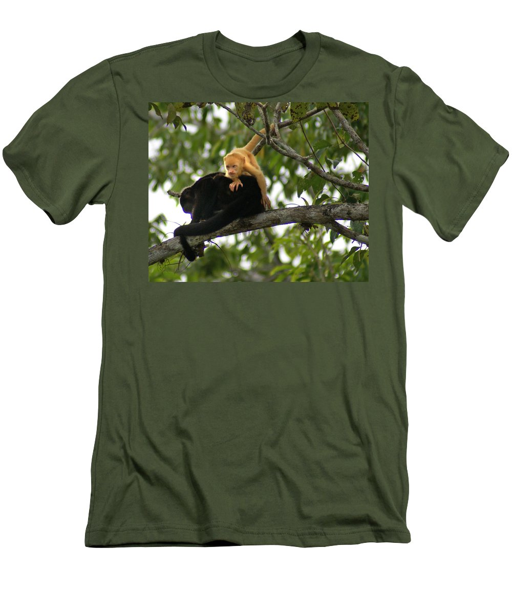 Monkey Men's T-Shirt (Athletic Fit) featuring the photograph Golden Monkey by Heather Coen