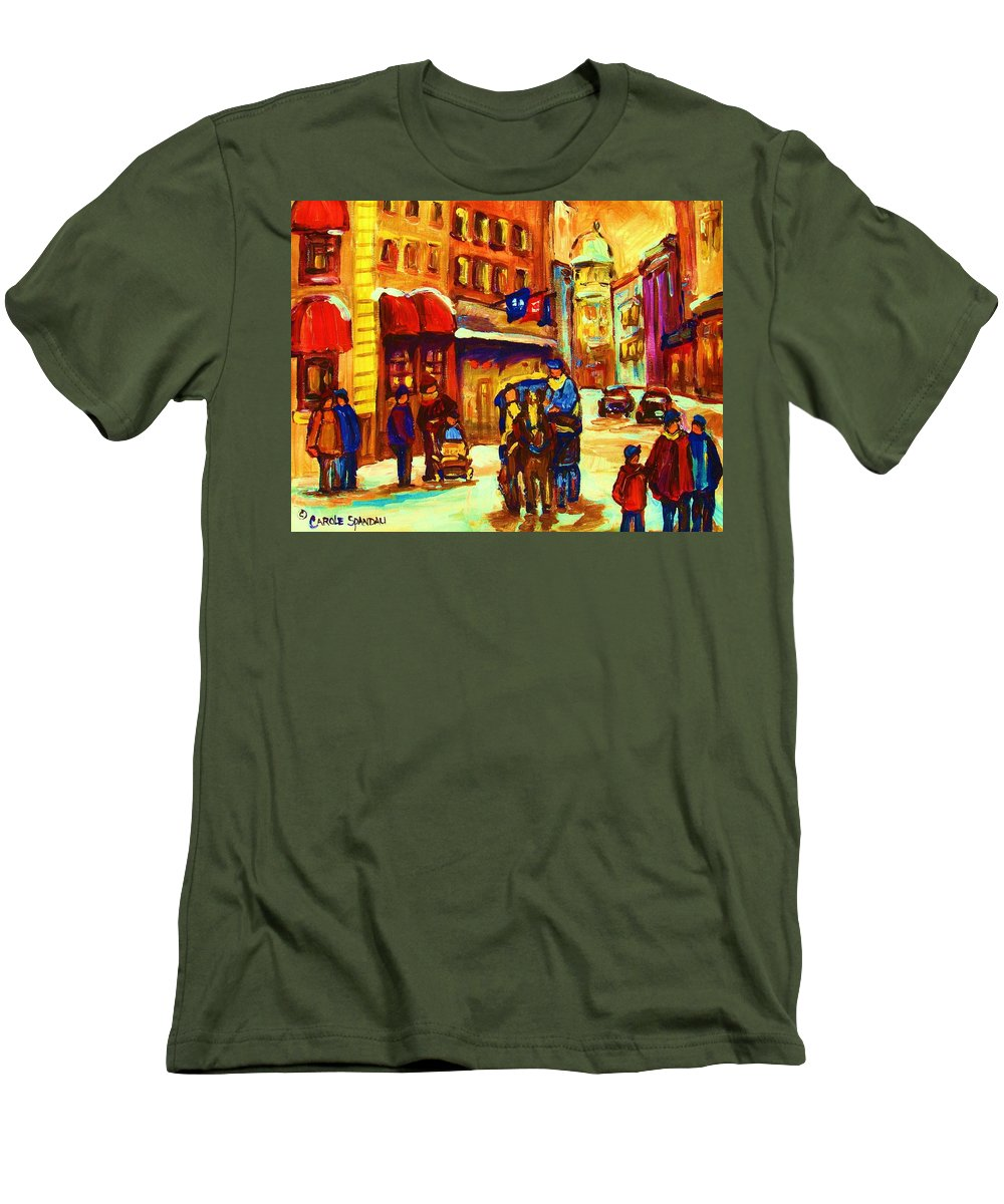 Montreal Men's T-Shirt (Athletic Fit) featuring the painting Golden Olden Days by Carole Spandau