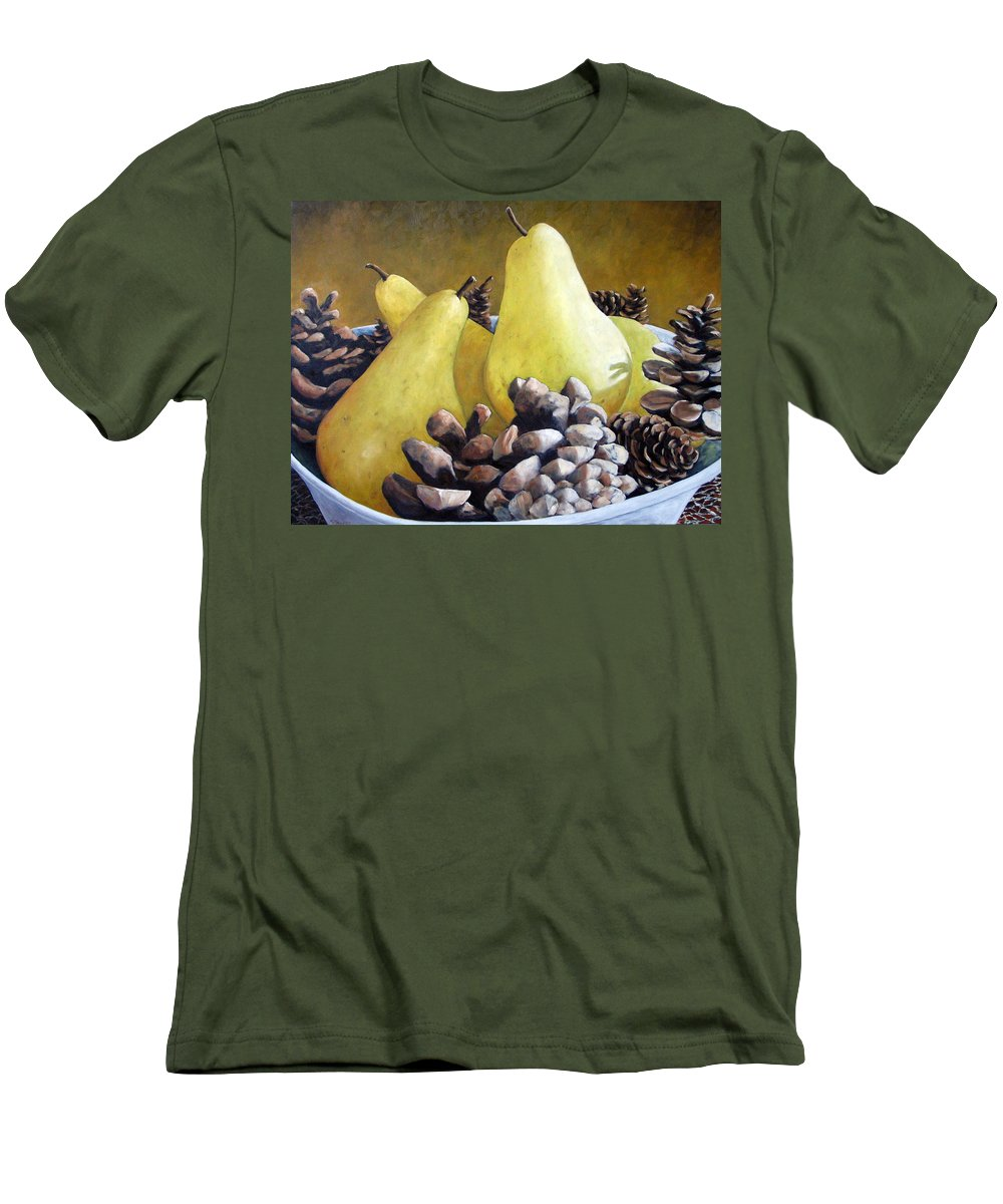 Canadian Men's T-Shirt (Athletic Fit) featuring the painting Golden Pears And Pine Cones by Richard T Pranke