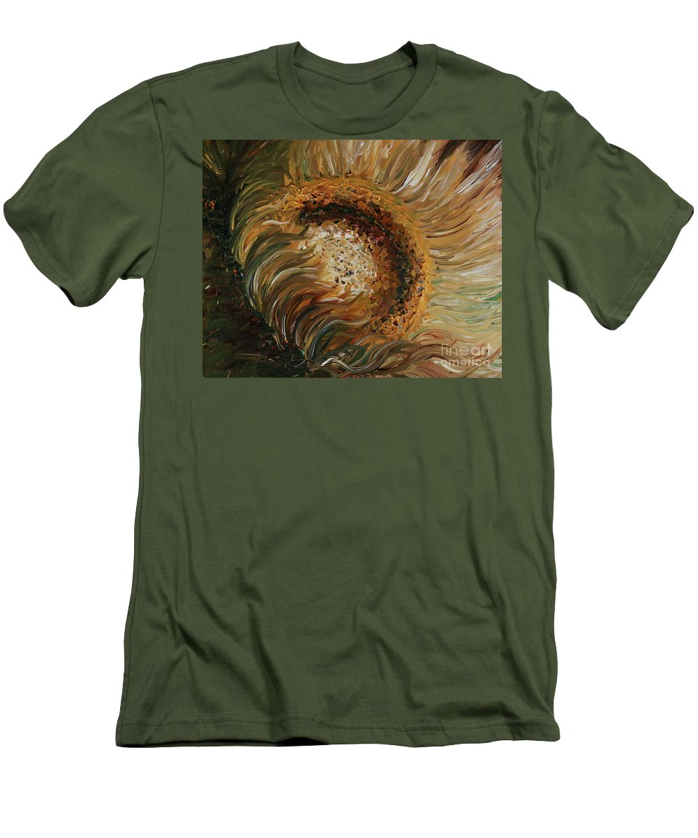 Sunflower Men's T-Shirt (Athletic Fit) featuring the painting Golden Sunflower by Nadine Rippelmeyer