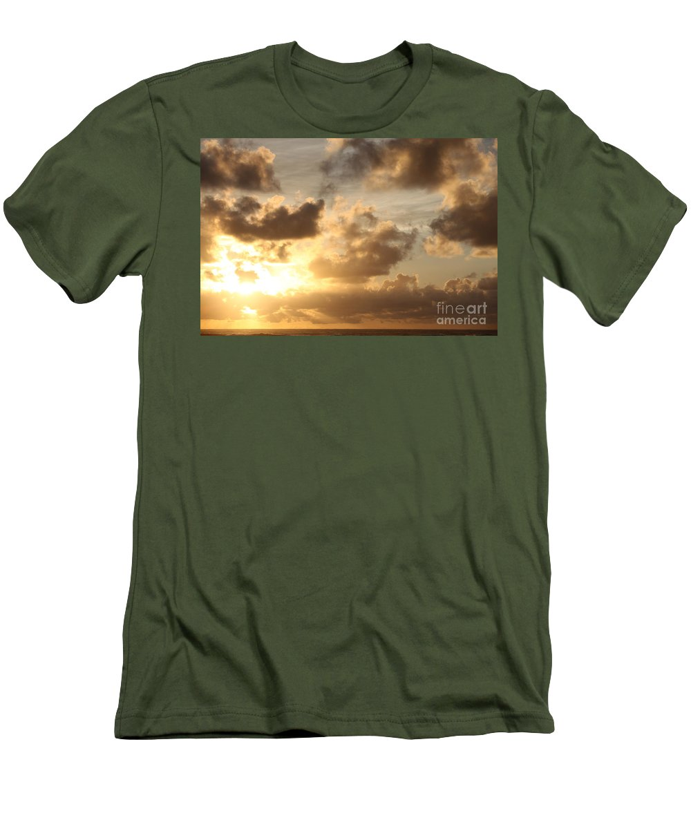 Sunrise Men's T-Shirt (Athletic Fit) featuring the photograph Golden Sunrise On Kauai by Nadine Rippelmeyer